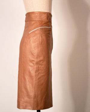 Azzedine Alaïa brown leather pencil skirt