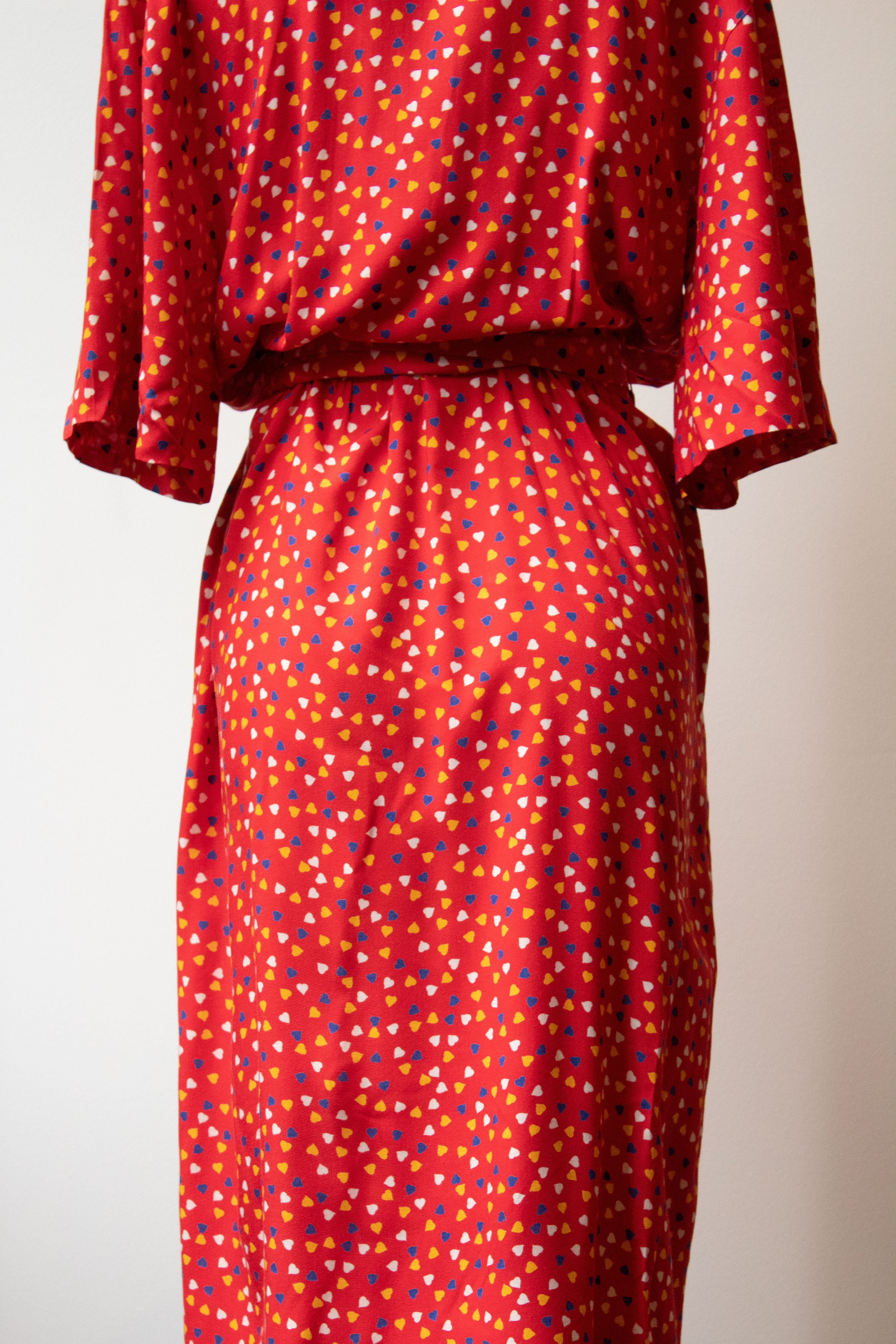 Guy Laroche red hearts printed shirt dress