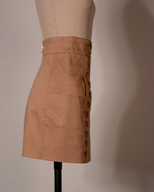 Balmain beige cotton mini skirt