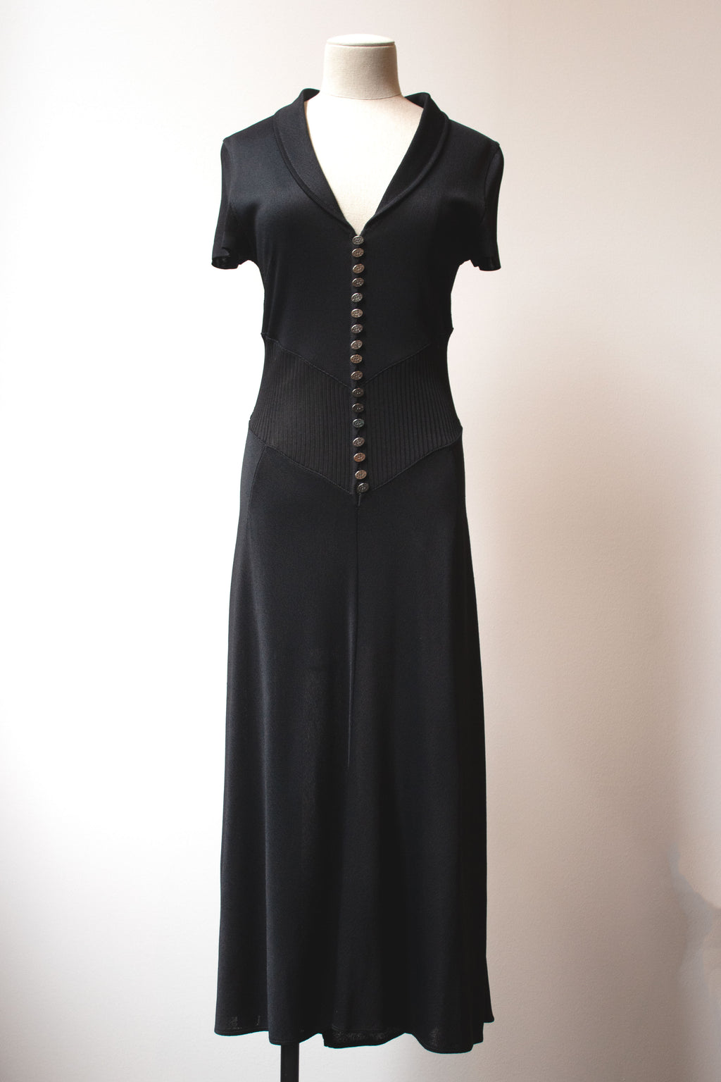 Karl Lagerfeld black rayon knit maxi dress