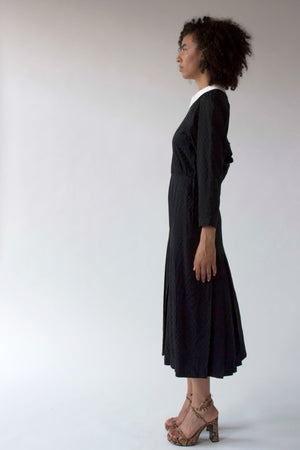 Albert Nipon for Bergdorf Goodman black silk pleated dress