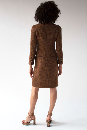 Chanel Paris brown houndstooth skirt suit