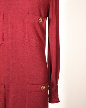 Chanel burgundy wool knit ensemble