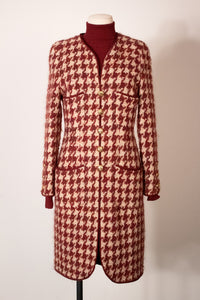 Chanel burgundy wool tweed coat