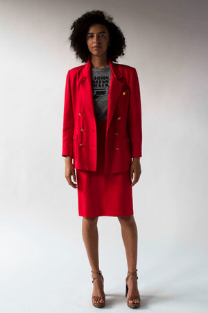 Chanel Paris red raw silk shantung double breasted skirt suit
