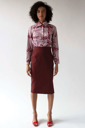 Vivienne Westwood Red Label red textured wool pencil skirt