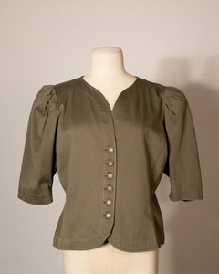 Saint Laurent Rive Gauche olive cotton button-front blouse