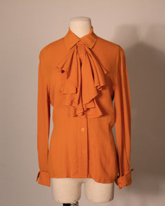 Anne Klein orange silk crepe blouse