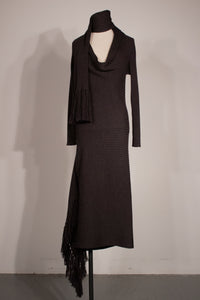 Jean Paul Gaultier charcoal knit maxi dress