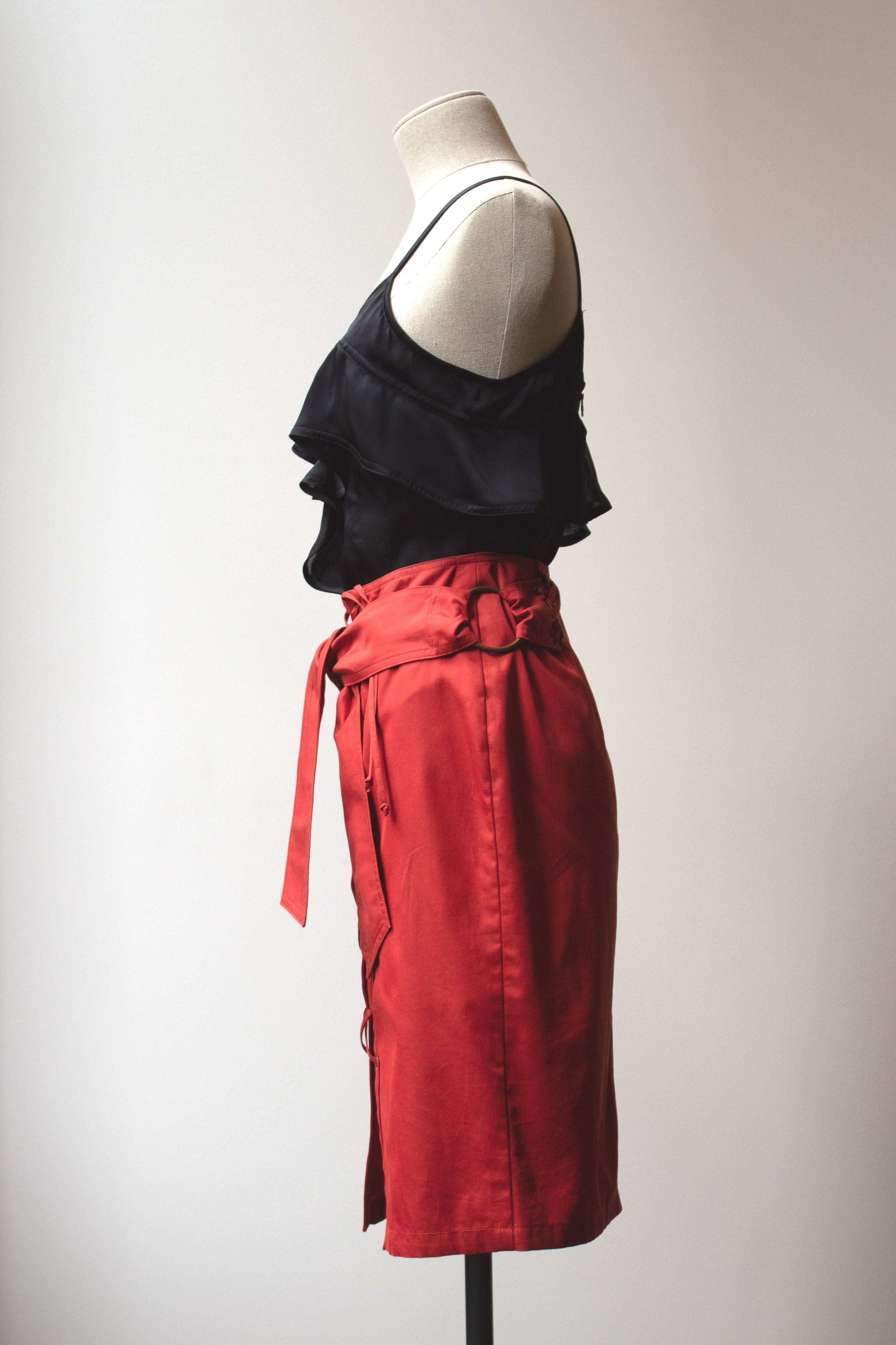 Yves Saint Laurent by Tom Ford red cotton skirt