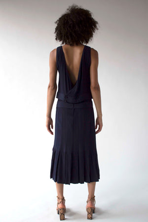 Chloé by Karl Lagerfeld navy textured silk midi dress