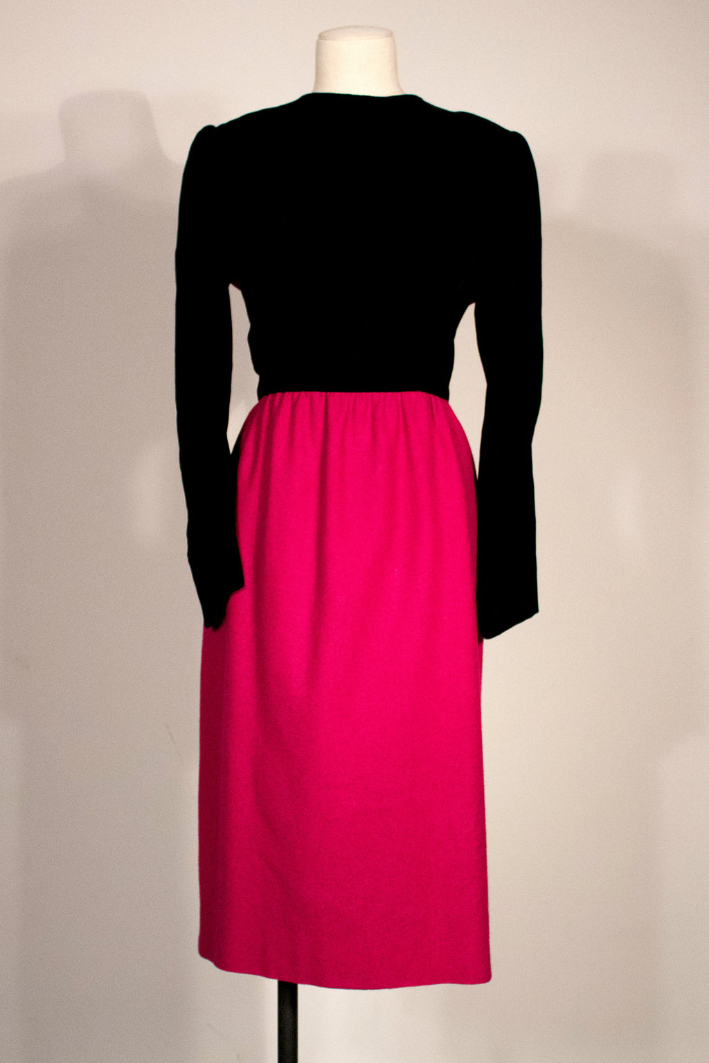 Lanvin Paris magenta wool midi dress
