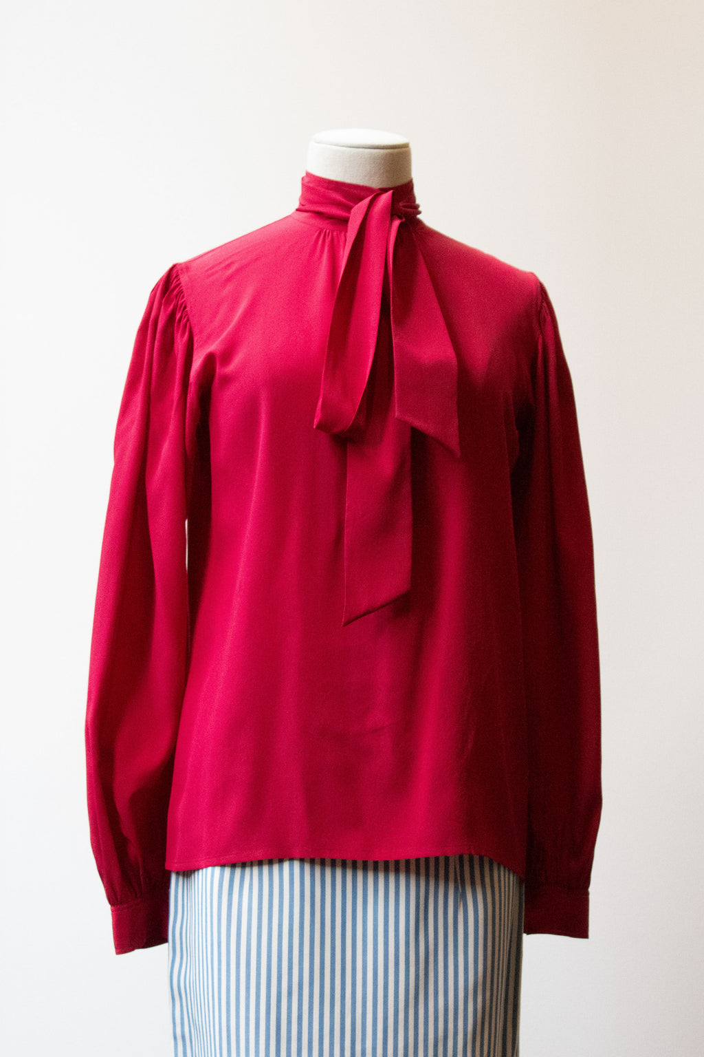 Saint Laurent Rive Gauche burgundy silk blouse