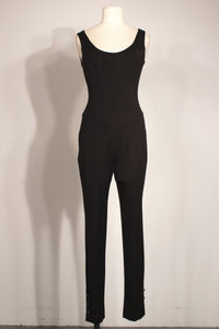 Chanel charcoal stretch wool catsuit