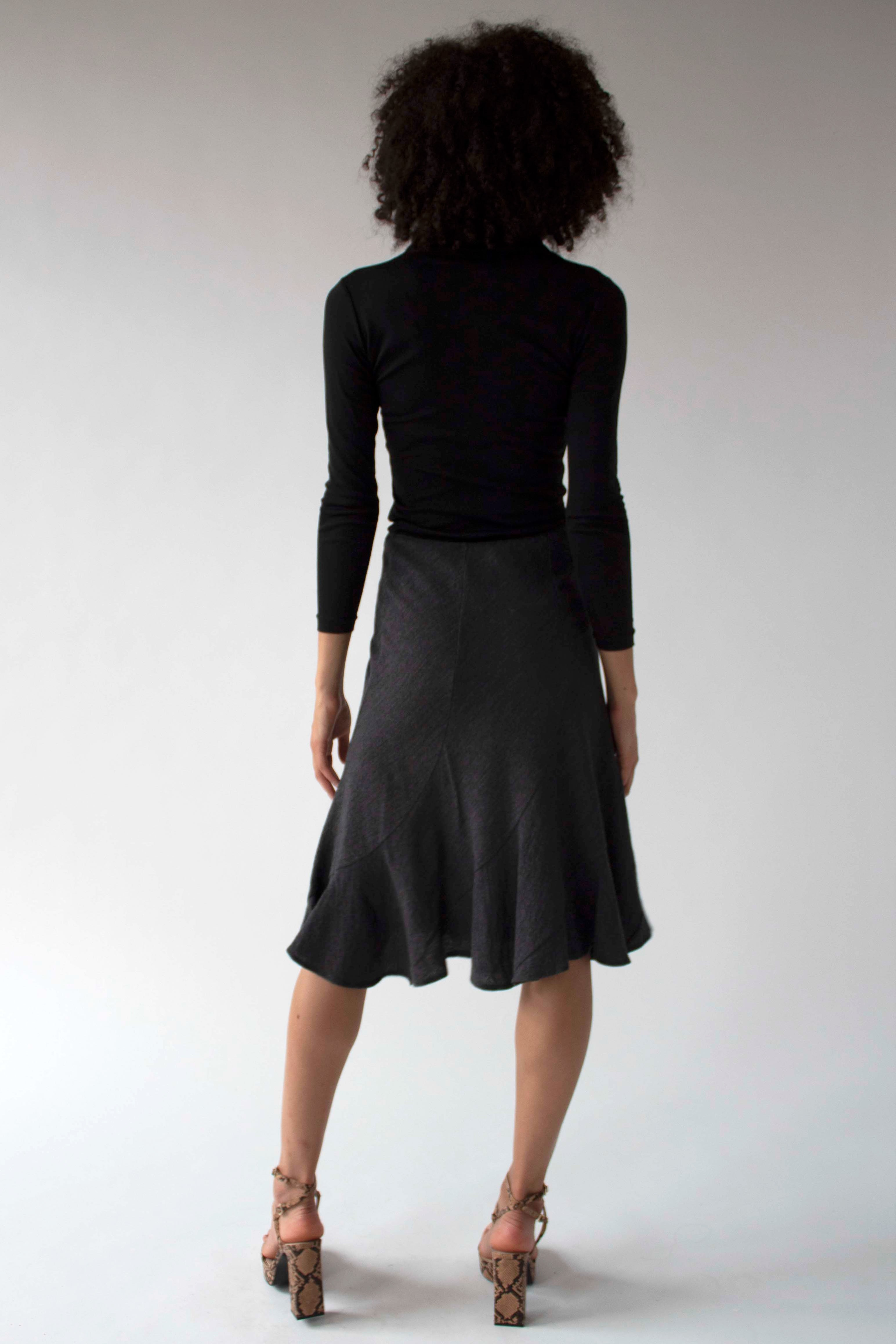 Junya Watanabe grey stretch wool crepe skirt