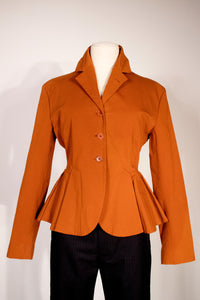 Romeo Gigli Burnt Orange Peplum Blazer