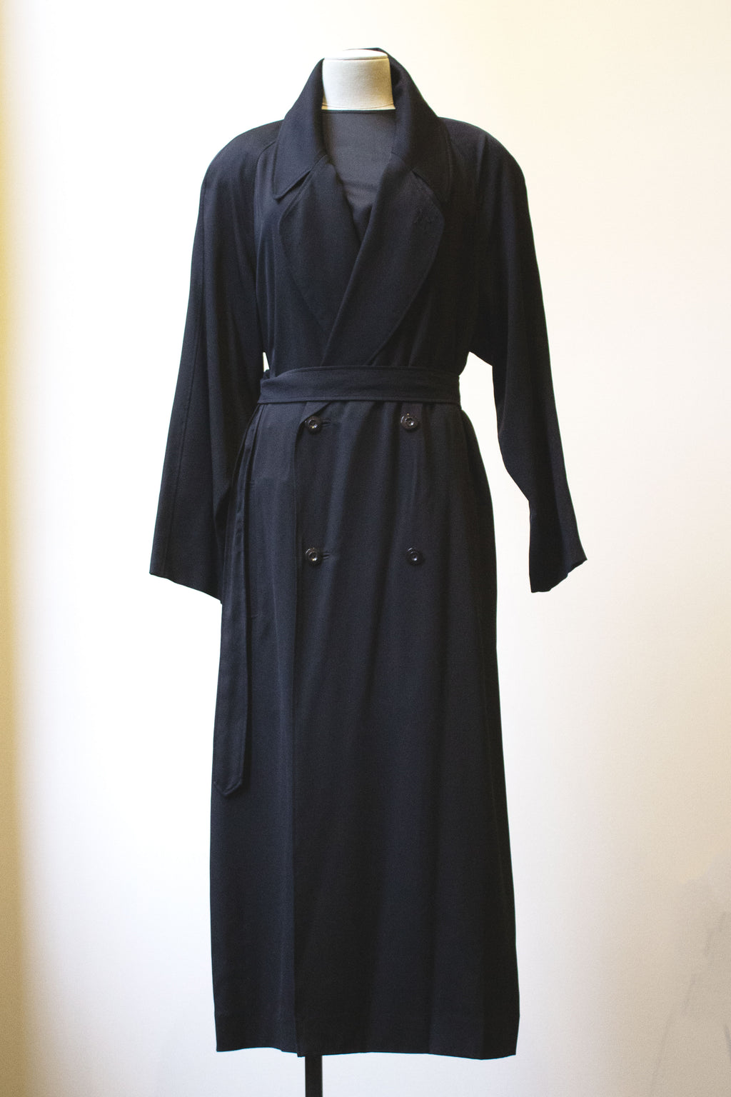 Matsuda black rayon-blend belted trench coat