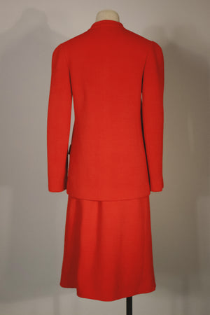 Halston red ribbed jersey knit skirt suit