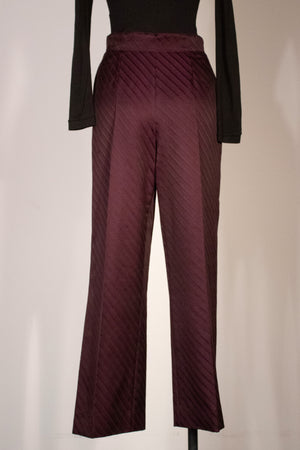 Thierry Mugler Couture eggplant wool-silk striped trousers