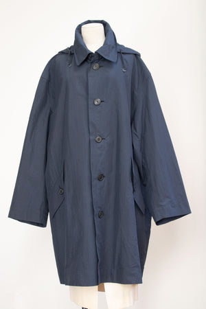 Issey Miyake navy cotton blend trench coat