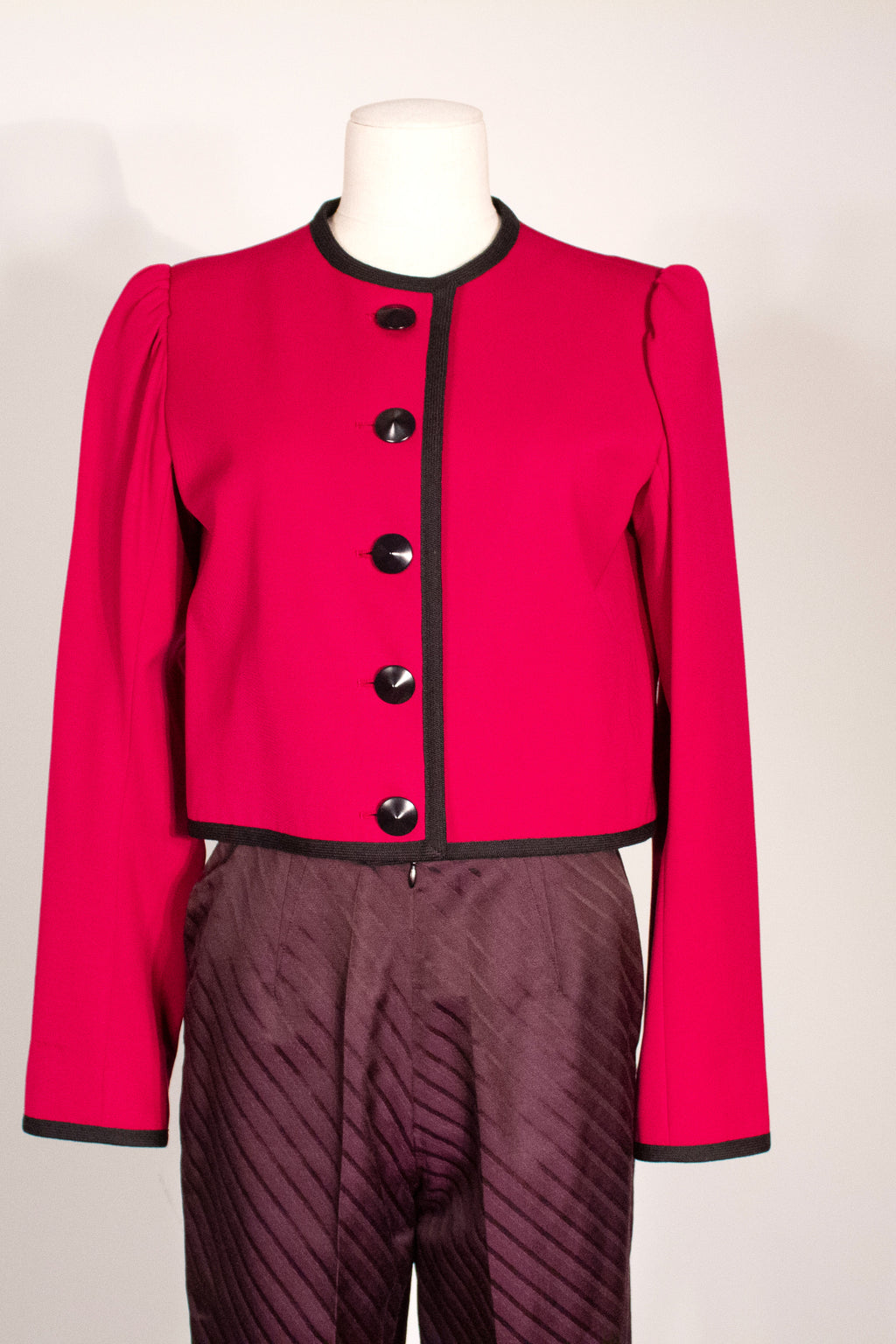 Saint Laurent fuchsia crop wool blazer