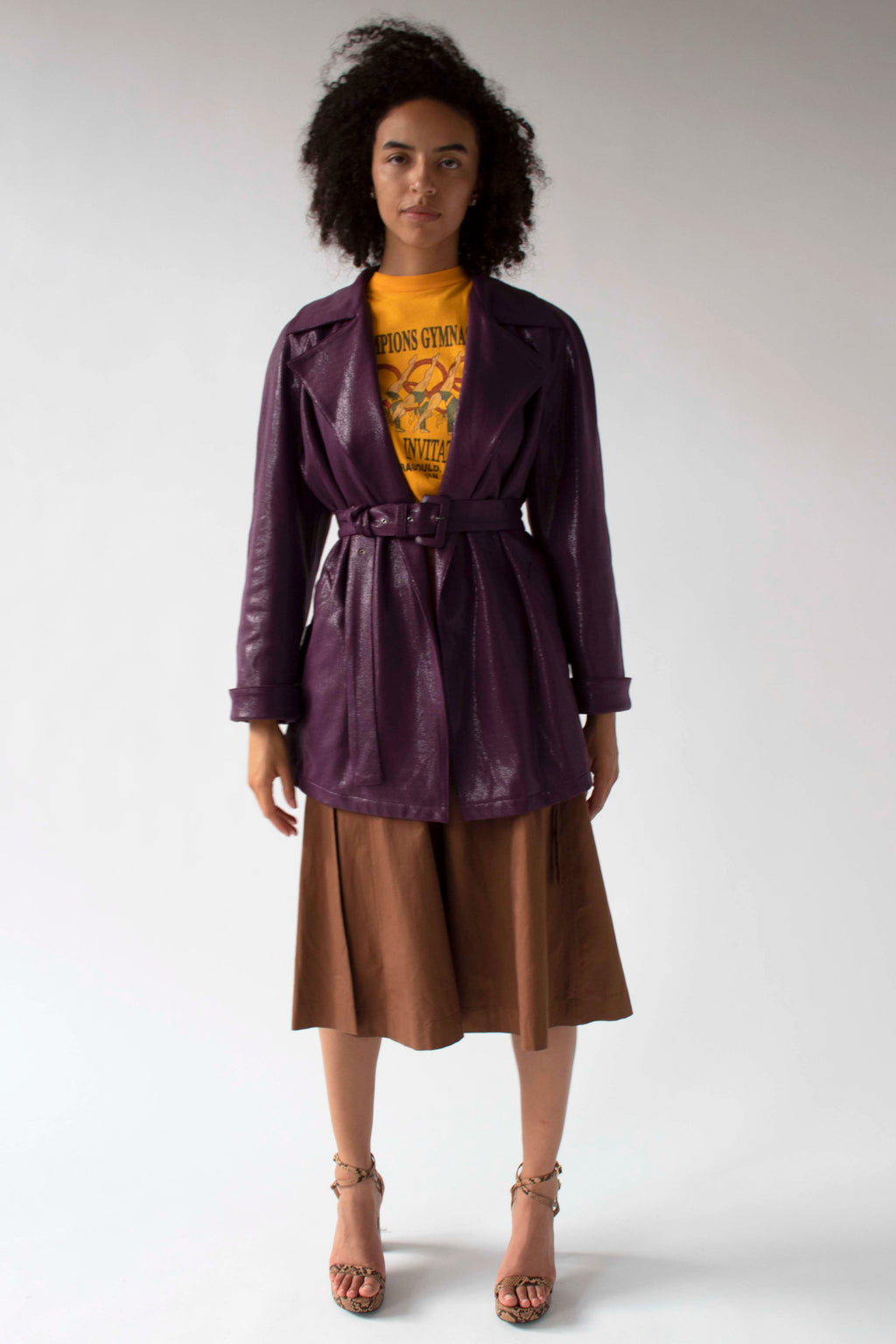 Gianni Versace metallic purple belted trench coat