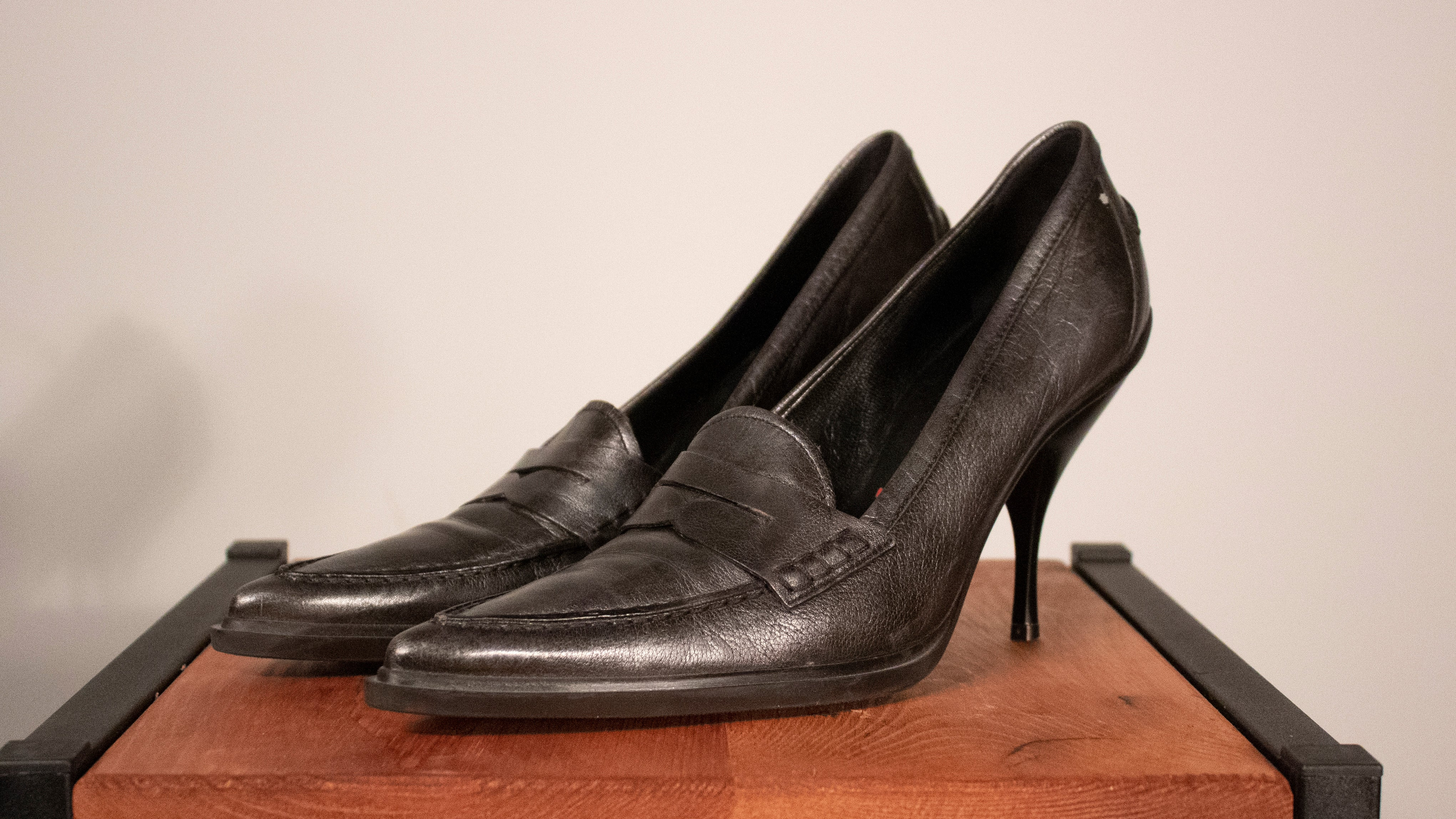 Miu Miu pewter leather heeled loafers