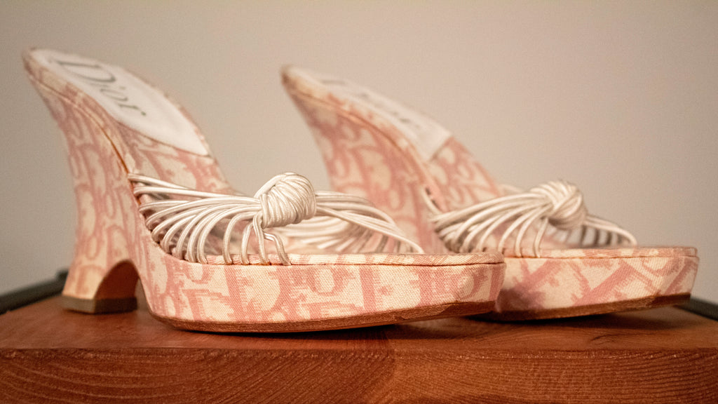 Christian Dior by John Galliano pink monogram canvas wedge sandals