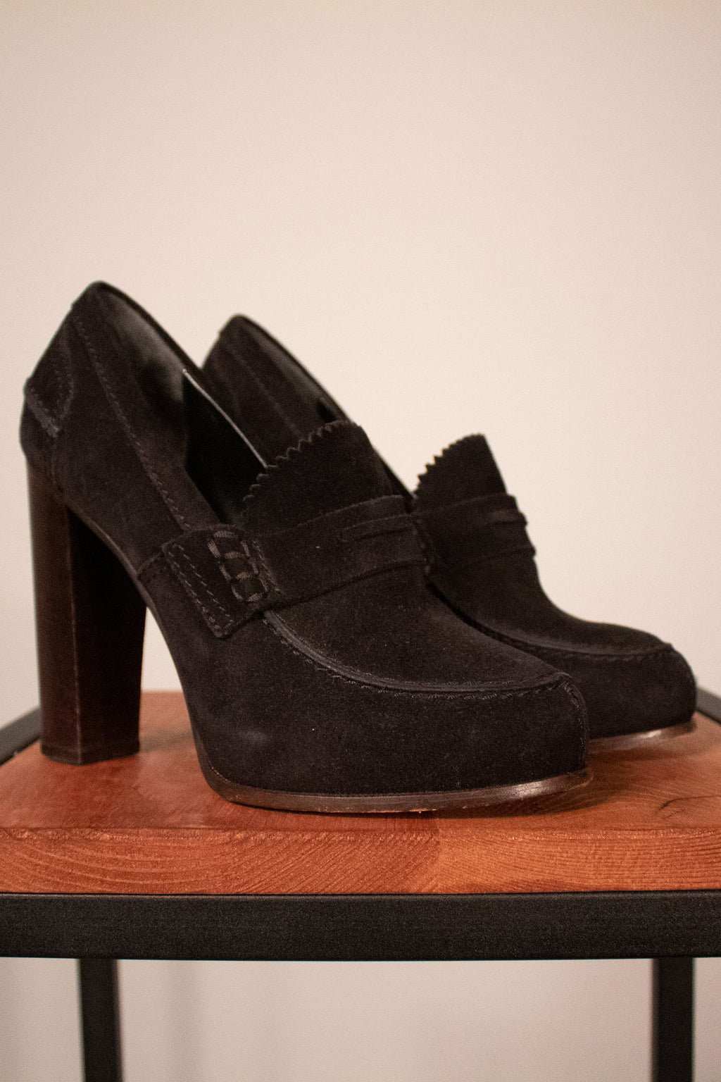 Celine by Phoebe Philo black suede platform loafers