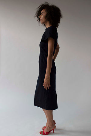 Comme des Garçons navy sculptural shift dress