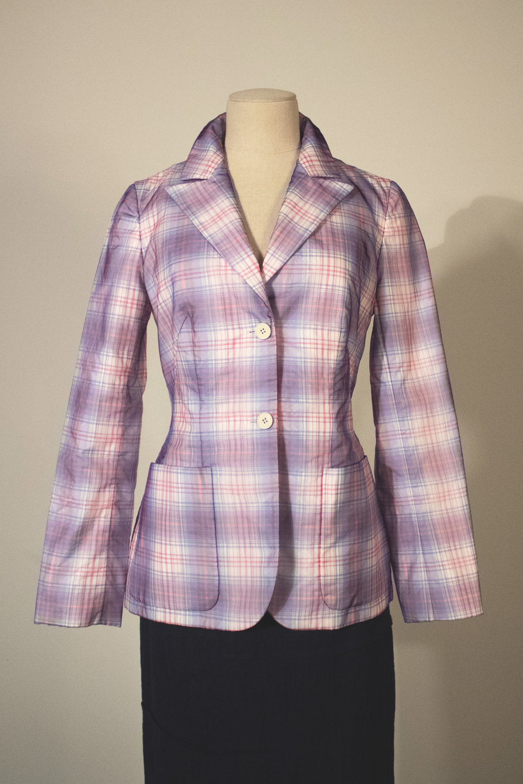 Raf Simons for Jil Sander rainbow plaid nylon blazer