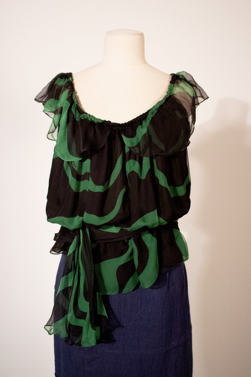 Yves Saint Laurent by Tom Ford green silk monogran blouse