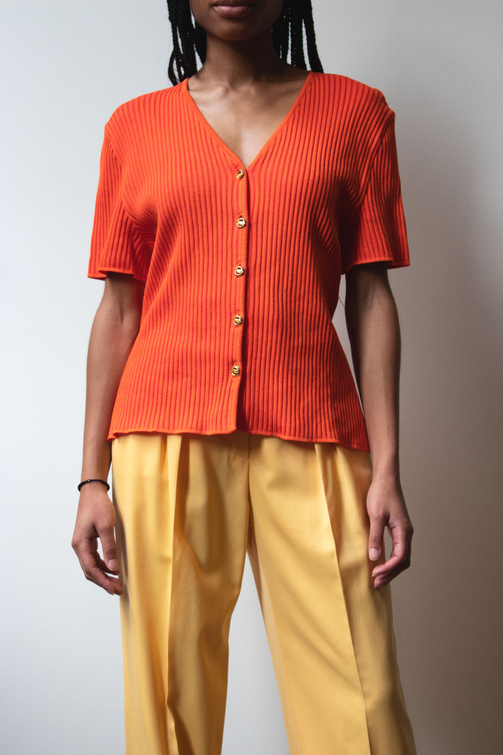 Escada orange cotton-blend cardigan