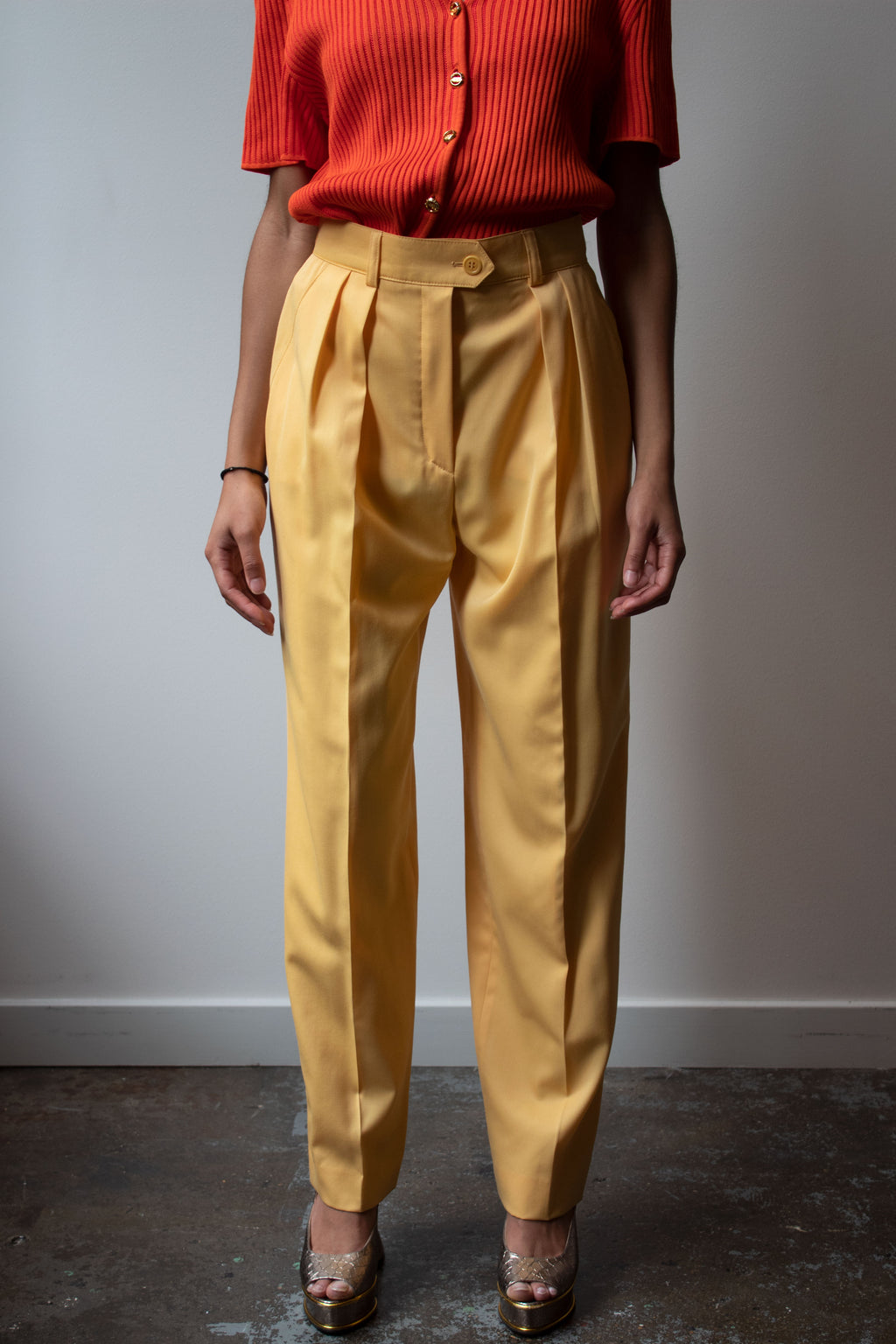 Escada yellow virgin wool pleated trousers