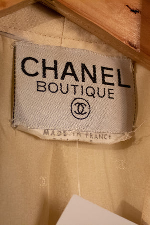 Chanel cream linen skirt suit