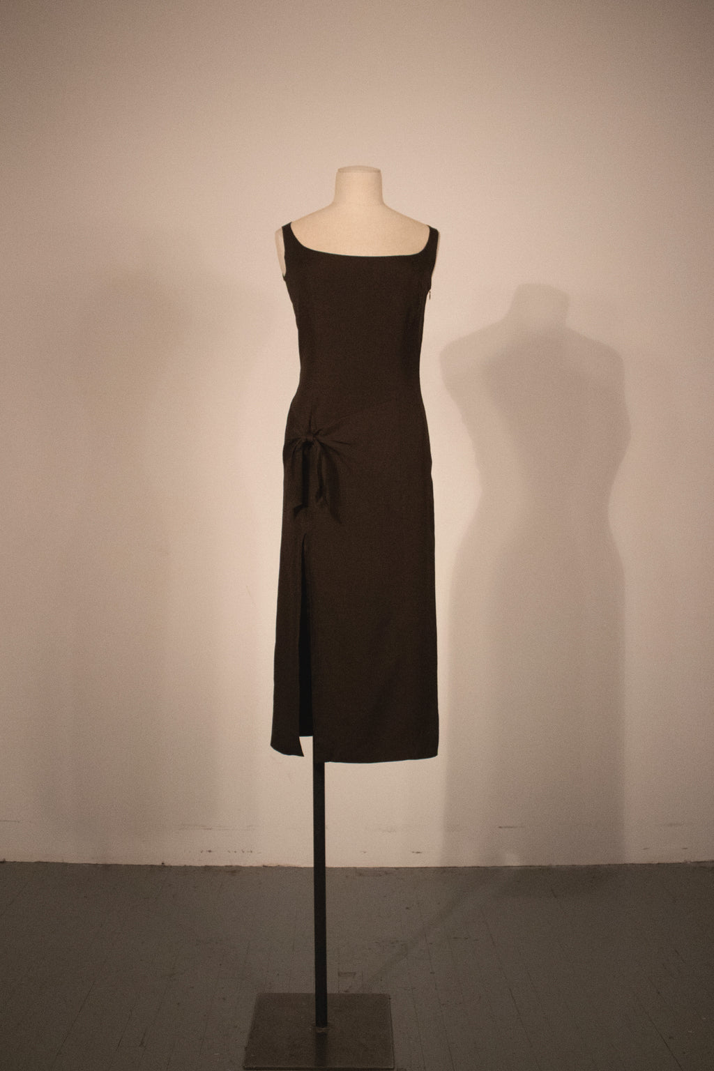 John Galliano brown linen blend sleeveless dress