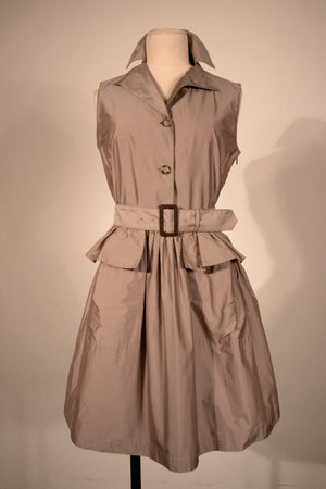 Prada taupe belted tank dress