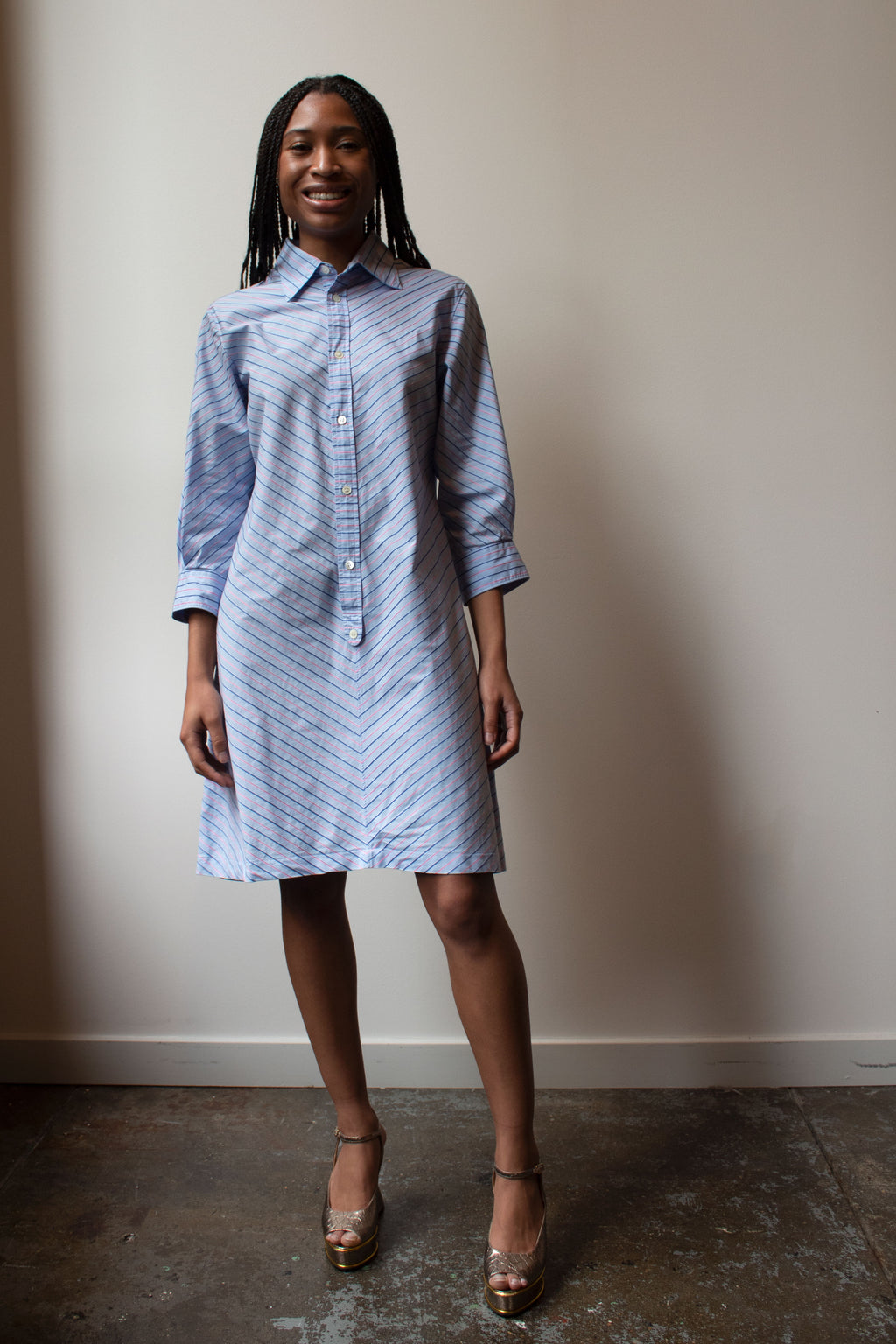 Junya Watanabe blue striped cotton tunic dress
