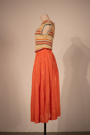 Missoni orange pleated cotton voile midi skirt