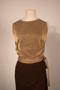Moschino metallic gold wrap tank