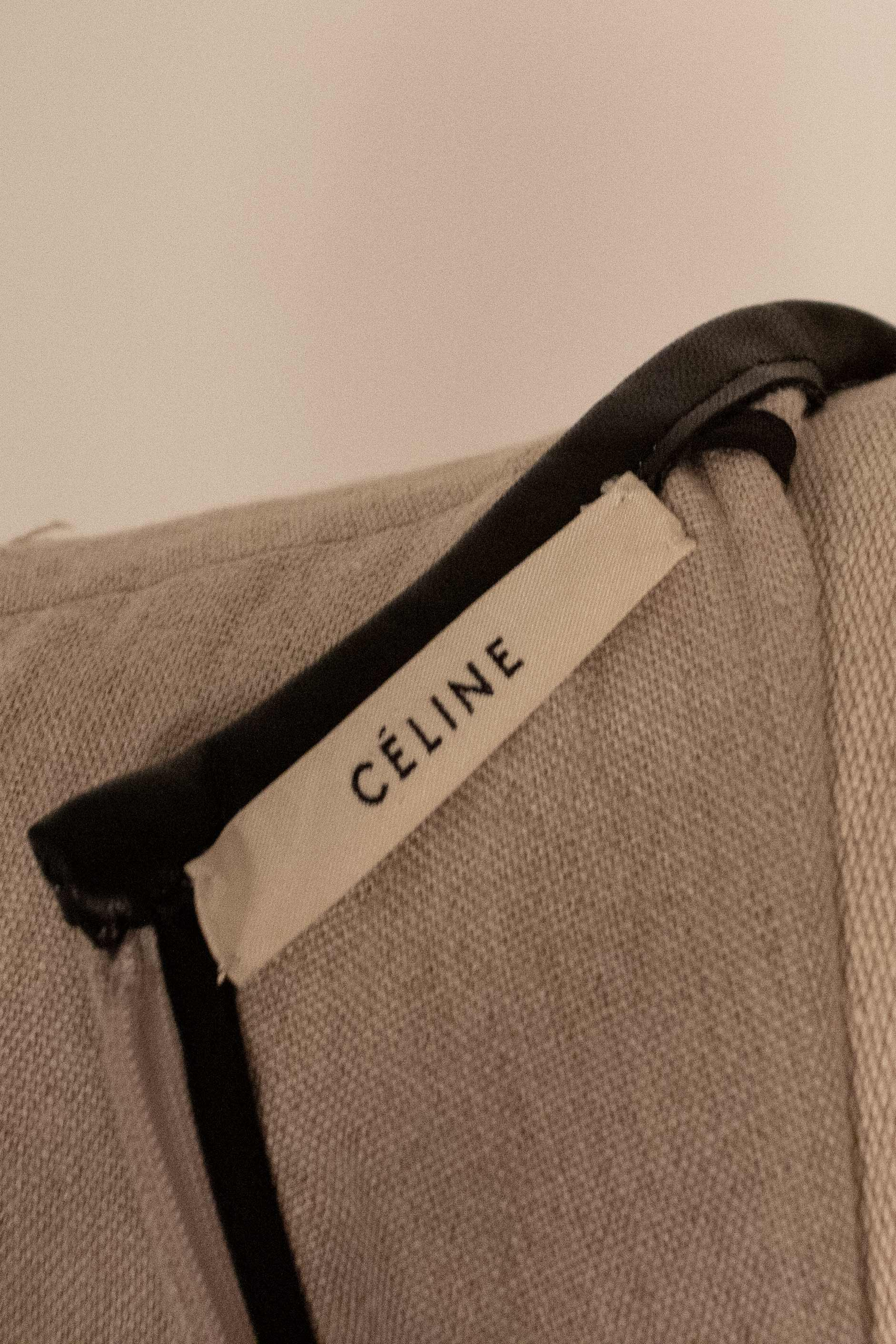 Celine tan linen black leather trim dress