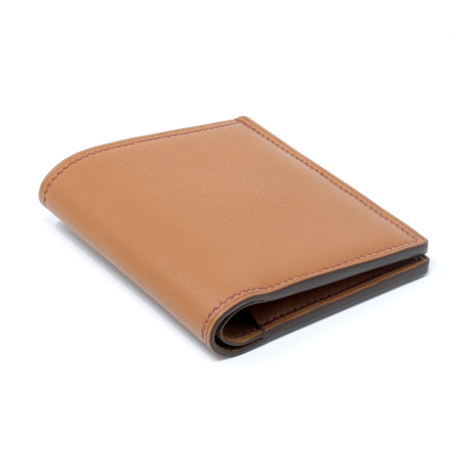 Gold Pebbled Taurillon Kent Bi-Fold Wallet Handmade by Bruna Andreoni