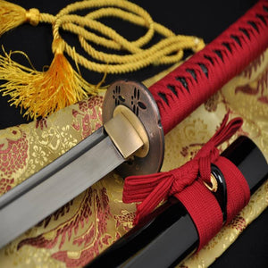 Handmade Japanese Samurai Sword Folded Steel Red Dragonfly Wakizashi