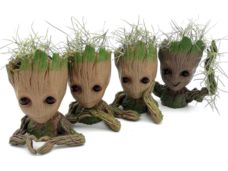 Baby Groot Planter with Spanish Moss