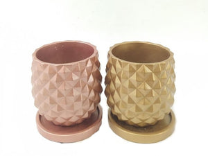 Pineapple Pot Cement-2126 with Saucer