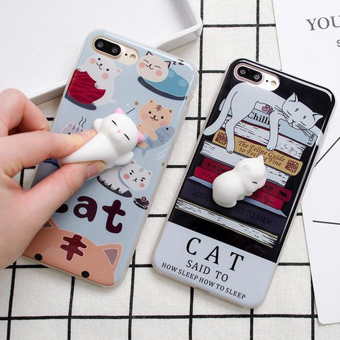 Lovely Soft Silicone 3D Lazy Cat iPhone Cases
