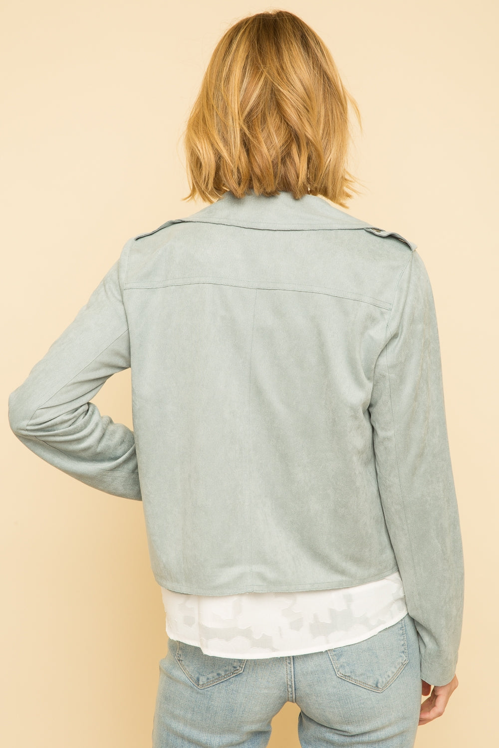 DUSTY BLUE VEGAN SUEDE JACKET