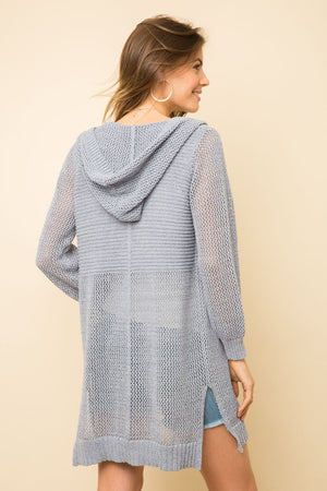 BLUE HOODED CARDIGAN