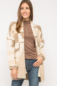 TAUPE CAMO SWEATER COAT