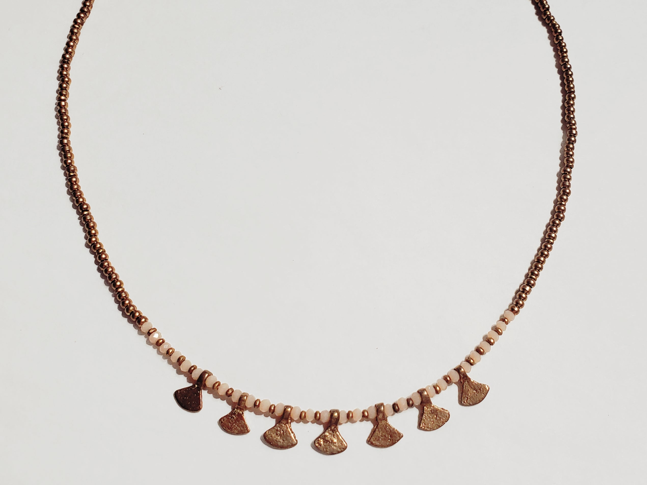 BRASS BEADED FAN NECKLACE